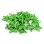 Natural Rattan Five Stars Shape DIY Craft Art Christmas Wedding Ornamen Hanging Garden Home-Green 6CM Pack of 20