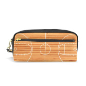 COOSUN Basketball Court Floor Plan On Parquet Background Portable PU Leather Pencil Case School Pen Bags stationery Pouch Case Large Capacity Makeup Cosmetic Bag