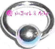 Finger Nail/Nail Art Piercing Ring with Balls, 925 sterling silver 5 mm