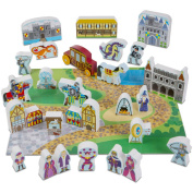 Melissa and Doug Wooden Castle and Kingdom Play Set with 32 Blocks