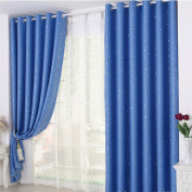 LYZ Navy With Sliver Stars Pattern Curtains For Kids Room Bathroom Curtain Thermal Insulated Curtain For Home Decor 100X250CM / 39.4X98.4inch
