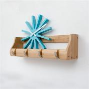 houyuanshun Creative Wall Hanging Coat Rack, Bedroom Solid Wood Wall Hook / Living Room Shelves Coatrack Hallstand Hatstand