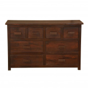 Homescapes Mangat Wooden Chest of Drawers Handmade Dark Solid Mango Wood Living or Bedroom Furniture (No Veneer), 8 Drawers 120 x 75 x 45 cm