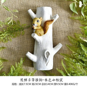American creative doorway Entrance Test dress room hook flower flower arrangement personality wall hanging key frame decorative garment hat hook, years of Love-squirrel White