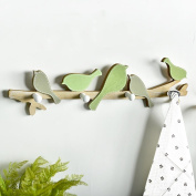Nordic Creative birds hanging hook door porch test clothes wall decoration hook hanging key frame, birds Hook-green