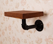 American Retro iron partition wall shelf wall solid wood shelves hanger, black