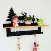 Wall hanging shelves, wall-mounted coat rack, creative coat hook, solid wood coat rack