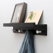Black Solid Wooden Coat Rack, Wall Mount Multi-purpose Shelf, Creative Wall Hanger Hook, Simple Coat Rack