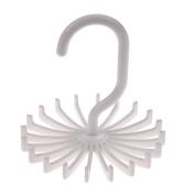 Demiawaking 360 Degree Rotating Tie Rack Tie Hanger 20 Hooks Neckties Scarf Organiser White
