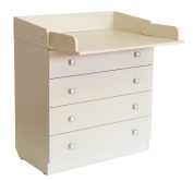 Polini Kids Simple Drawer Unit with Changing Board, Number 1580, Ivory