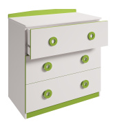 Polini Kids Simple Collection Drawer Unit, Number 3090, White/Green