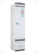 Polini Kids 1 Sectioned Wardrobe with Drawer, White/Grey