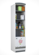 Polini Kids Basic Monsters 1 Sectioned Shelving Unit, White/Grey