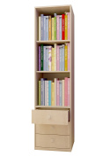 Polini Kids Simple Shelving Unit with Drawers, Natural