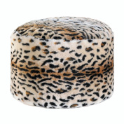 BSD National Supplies Momento Fuzzy Leopard Ottoman Pouffe Brown