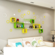 Amour Lighting Yellow and green wall lattice shelves wall creative lattice decorative shelf shelves