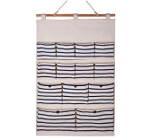 Zantec Home Cube Linen/Cotton Fabric 13 Pockets Wall Door Closet Hanging Storage Bag Organiser, White Polka Dots/Navy Stripe