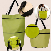 Kicode Travel Portable Oxford Foldable Reusable Shopping Bag On Wheels Grocery Handbag