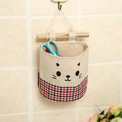 Vikenner Hanging Storage Bag Case Cotton Linen Waterproof Wall Door Closet Organiser with Single Pockets for Gadget Makeup Toys - Red