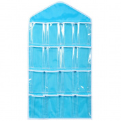 Vikenner Clear Hanging Storage Bag Case Oxford Waterproof Wall Door Closet Organiser with 16 Pockets for Gadget Makeup Toys - Blue
