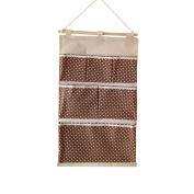 TELLW 35*60.5cm Pure cotton multifunctional hanging bag 6 pocket door wall hanging bag