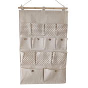 TELLW 45*76cm Cotton-Hemp Waterproof 13-pocket super large wall-mounted bag hanging bag multi-layer