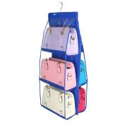 Omkuwl 6 Pockets Large Clear Purse Handbag Hanging Storage Bag Organiser Closet sapphire