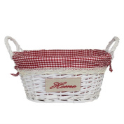 "Willow Woven Wicker Basket with Handles & Gingham Lining - RED ""Home"" 3 Sizes"