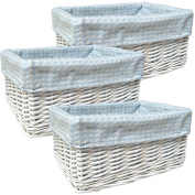 3 x WHITE WICKER Rectangular Baby Storage Gift Basket Hampers with BLUE GINGHAM Cotton Lining