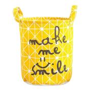 Merssavo Foldable Storage Bag Basket Toy Clothing Round Cotton Linen Draw String Bins