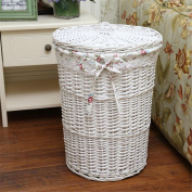 GUANSIJIE® Laundry Basket Wastebasket Rattan Cloth Dirty Clothes Basket Home Simplicity Hand Made Willow Weave Living Room Storage Basket Storage Bucket Wastebasket With Covered , White , 53*43Cm