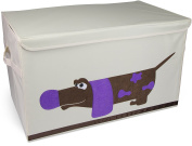 "Toy Box XXL ""Dachshund"" - Beige approx. 61 x 36 x 36 cm - Toy Box for Toy Storage and Transportation - Grinscard"