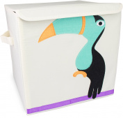"Toy Box ""Toucan"" with Lid - Beige approx. 35 x 33 x 33 cm - Toy Box for Toy Storage and Transportation - Grinscard"