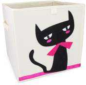"Toy Box ""Cat"" Design - Beige approx. 34 x 33 x 33 cm - Toy Box for Toy Storage and Transportation - Grinscard"