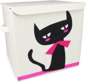 "Toy Box ""Cat"" with Lid - Beige approx. 35 x 33 x 33 cm - Toy Box for Toy Storage and Transportation - Grinscard"