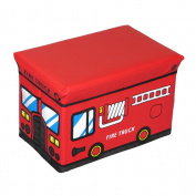 OUNONA Kids Childrens Storage Box Seat Red Fire Truck Toy