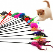 Leisial Pack of 4 Funny Stick Toys with Feathers for Cats - Random Colours