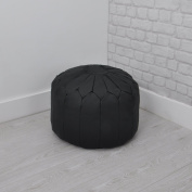 Faux Leather Moroccan Pouffe / Bean Bag / Foot Stool in Black