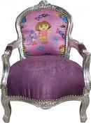 Casa Padrino Baroque Highchair Royal Purple/Silver Mod1 - Children's Furniture
