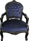 Casa Padrino Baroque Highchair Royal Blue / Black with Bling Bling Rhinestones - Children's Furniture