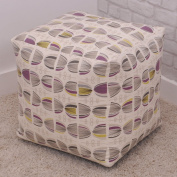 Luxury Cosmos Retro Design Cube Bean Bag with Purple and Yellow Highlights