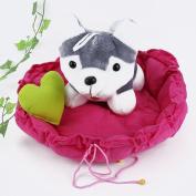JuShen Pet Puppy Dog Cat Sleeping Bed Cotton Cushion Mat Kennel Nest Warm House Rose