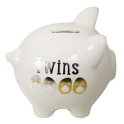 "Ivory Piggy Money Box ""My First Piggy Bank"" Twins - New Baby Unisex"