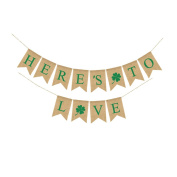 Tinksky St Patrick's Day Decorations Banner Irish Shamrock Burlap HERE'S TO LOVE Bunting Garland Flags For St. Patrick's Day Party St Paddy's Decor