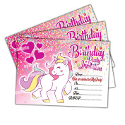 20 x Unicorn Kids Children's Birthday Party Invitations Invites Cards Girls
