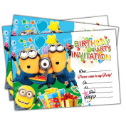 20 x Minions Kids Birthday Party Invitations Invites Cards Quality Girls Boys