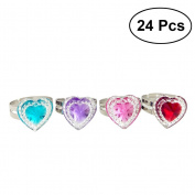 TOYMYTOY Jewel Rings toy Heart Shape Crystal Rhinestone Rings Party Bag Fillers 24pcs