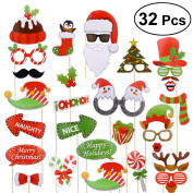 Christmas Photo Booth Props DIY Kit OULII 32pcs Christmas Party Supplies