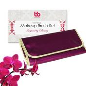 Best Professional Makeup Brushes Set - 16 Pc Purple Cosmetic Foundation Make up Kit - Beauty Blending for Powder & Cream - Bronzer Concealer Contour Brush - Beauty Bon