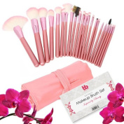 Professional Makeup Brushes, 22 Piece Set, Pink, Vegan, with Comfortable Plastic Handles, Great for Precision Makeup & Contouring, Includes Free Case, By Beauty Bon